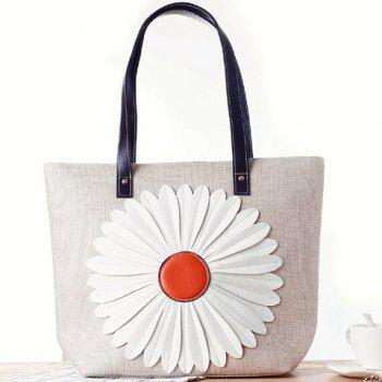 Casual Sunflower and Zipper Design Tote Bag For Women - WHITE