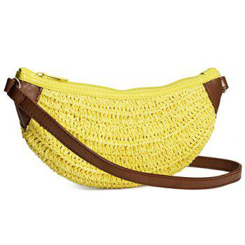 Cute Weaving and Banana Shape Design Crossbody Bag For Women
