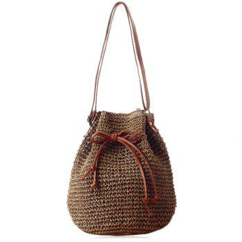 Fashionable Drawstring and Weaving Design Shoulder Bag For Women