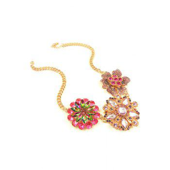 Flower Faux Crystal Pendant Necklace - GOLDEN