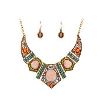 A Suit of Vintage Geometric Resin Necklace and Earrings