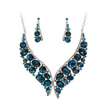 A Suit of Noble Faux Crystal Fake Collar Necklace and Earrings For Women