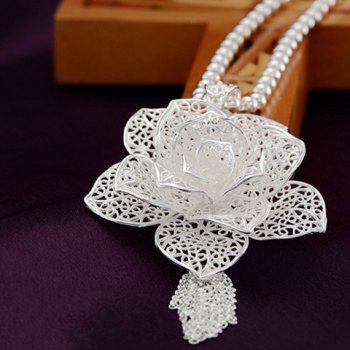 Charming Blossom Hollow Out Chains Pendant Necklace For Women - SILVER