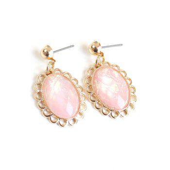 Pair of Oval Faux Gemstone Earrings