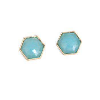 Pair of Exquisite Hexagonal Faux Gemstone Earrings For Women