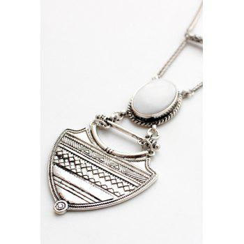 Vintage Alloy Geometric Pendant Sweater Chain For Women - SILVER