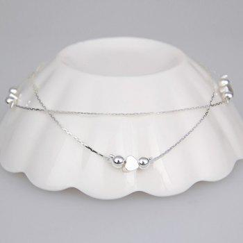 Double Layered Heart  Beads Anklet - SILVER