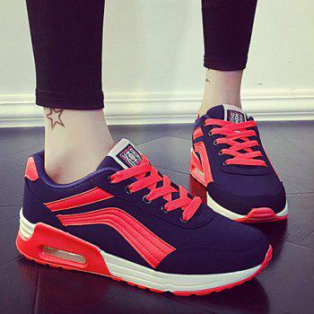 Casual Color Matching and Lace-Up Design Athletic Shoes For Women - BLUE/PINK BLUE/PINK