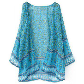 Trendy Long Sleeve Printed Chiffon Women's Kimono Blouse