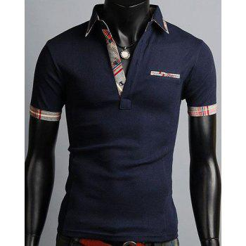 Elegant Turn-Down Collar Color Block Purfled Design Short Sleeve Men's Polo T-Shirt