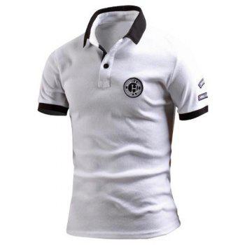 Turn-Down Collar Color Block Spliced Applique Embellished Short Sleeve Men's Polo T-Shirt