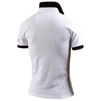 Turn-Down Collar Color Block Spliced Applique Embellished Short Sleeve Men's Polo T-Shirt - WHITE WHITE