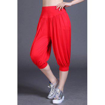 Buy Active Women's Elastic Waist Cropped Yoga Pants RED