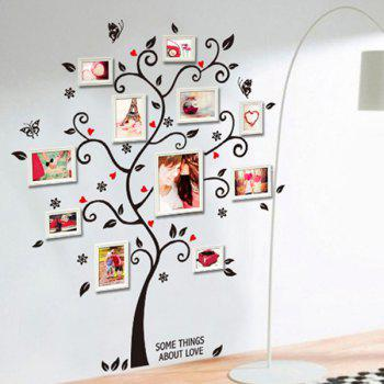 High Quality Photo Frame Tree Shape Removeable Wall Stickers - BLACK