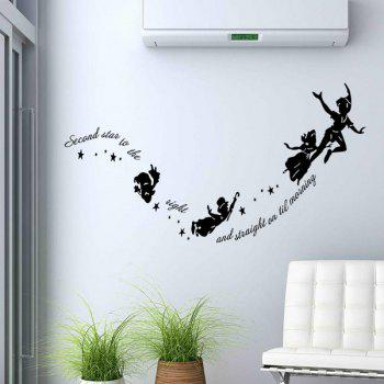 High Quality Solid Color Little Fairy Shape Removeable Wall Stickers - BLACK