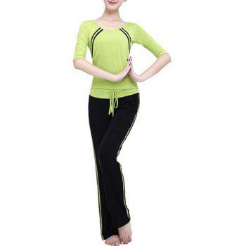 Casual Striped 3/4 Sleeve Scoop Neck Drawstring Women's Yoga Suit