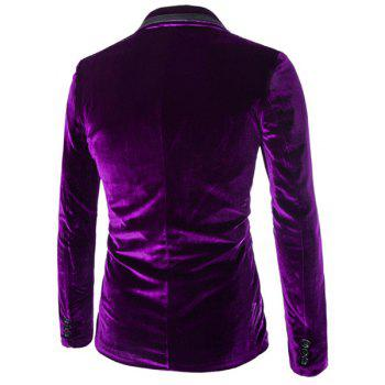 Slimming Lapel Vogue Pocket Edging Design Long Sleeve Men's Corduroy Blazer - PURPLE L
