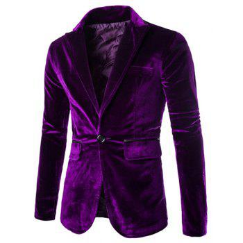 Buy Slimming Lapel Vogue Pocket Edging Design Long Sleeve Men's Corduroy Blazer PURPLE
