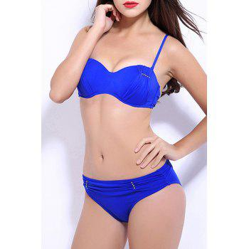 Trendy Push Up Pure Color Bikini Suit For Women - BLUE M