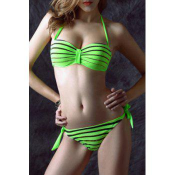 Sexy Halter Neck Side-Tie Backless Rhinestoned Stripe Women's Bikini Set