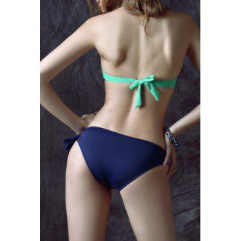 Sexy Halter Neck Backless Hollow Out Convertible Way Women's Bikini Set - BLUE/GREEN S