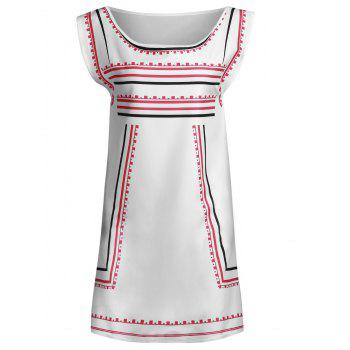 Trendy Color Block Striped Sleeveless Straight Dress For Women - WHITE L