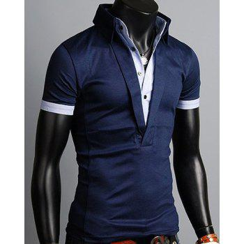 Turn-Down Collar Single Breasted Design Color Block Splicing Short Sleeve Men's Polo T-Shirt - CADETBLUE XL