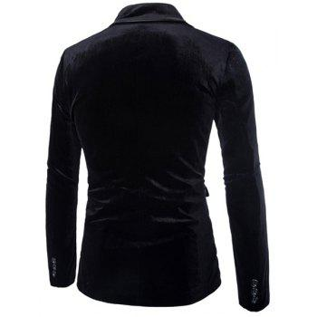 Slimming Lapel Vogue Pocket Edging Design Long Sleeve Men's Corduroy Blazer - BLACK XL