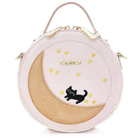 Fashion Color Block and PU Leather Design Crossbody Bag For Women - WHITE