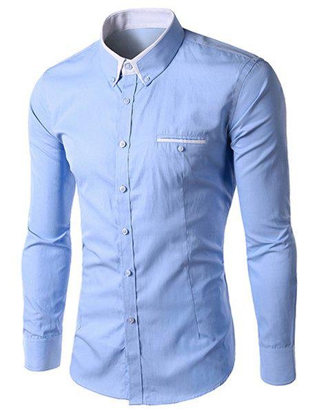 Men's Slimming Solid Color Turn Down Collar Long Sleeves Shirt - LIGHT BLUE M