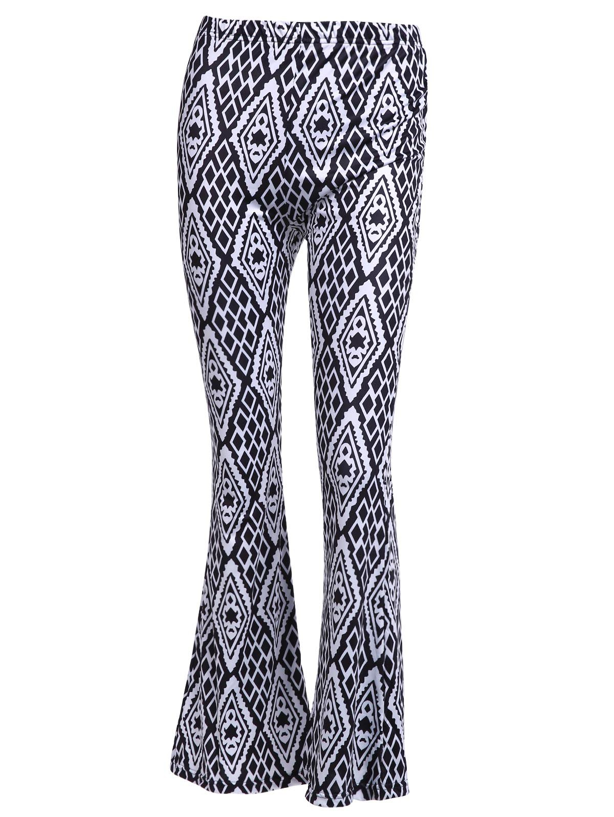 Vintage Women's High-Waisted Geometric Printed Pants - WHITE/BLACK M