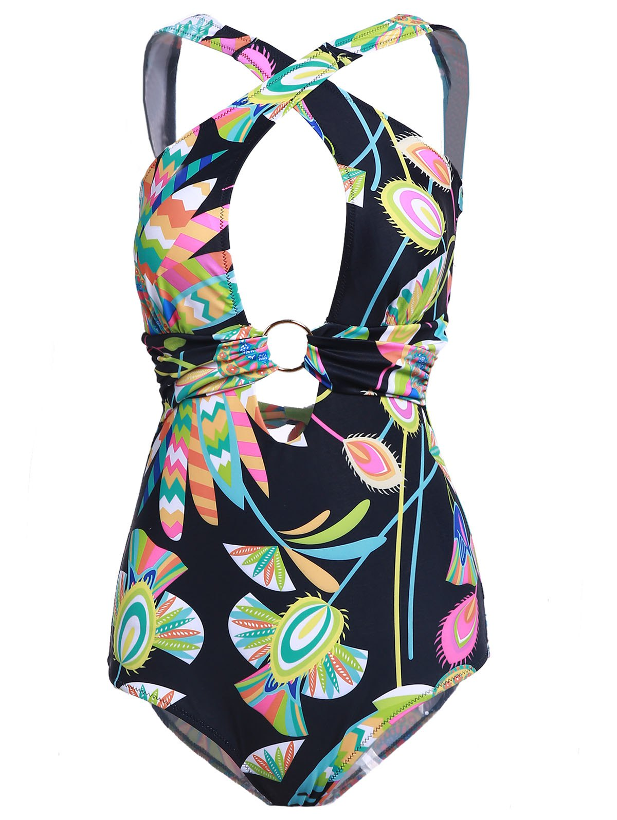 Stylish Printed Back Criss-Cross Cut Out One-Piece Swimwear For Women