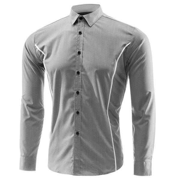 Slim Fit Turn Down Collar Single Breasted Long Sleeves Shirt For Men - GRAY XL