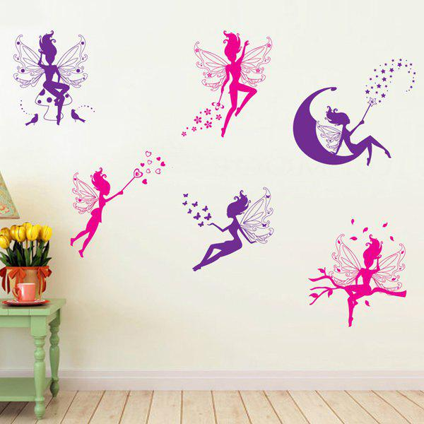 High Quality Flower Fairy Shape Removeable Wall Stickers - COLORMIX