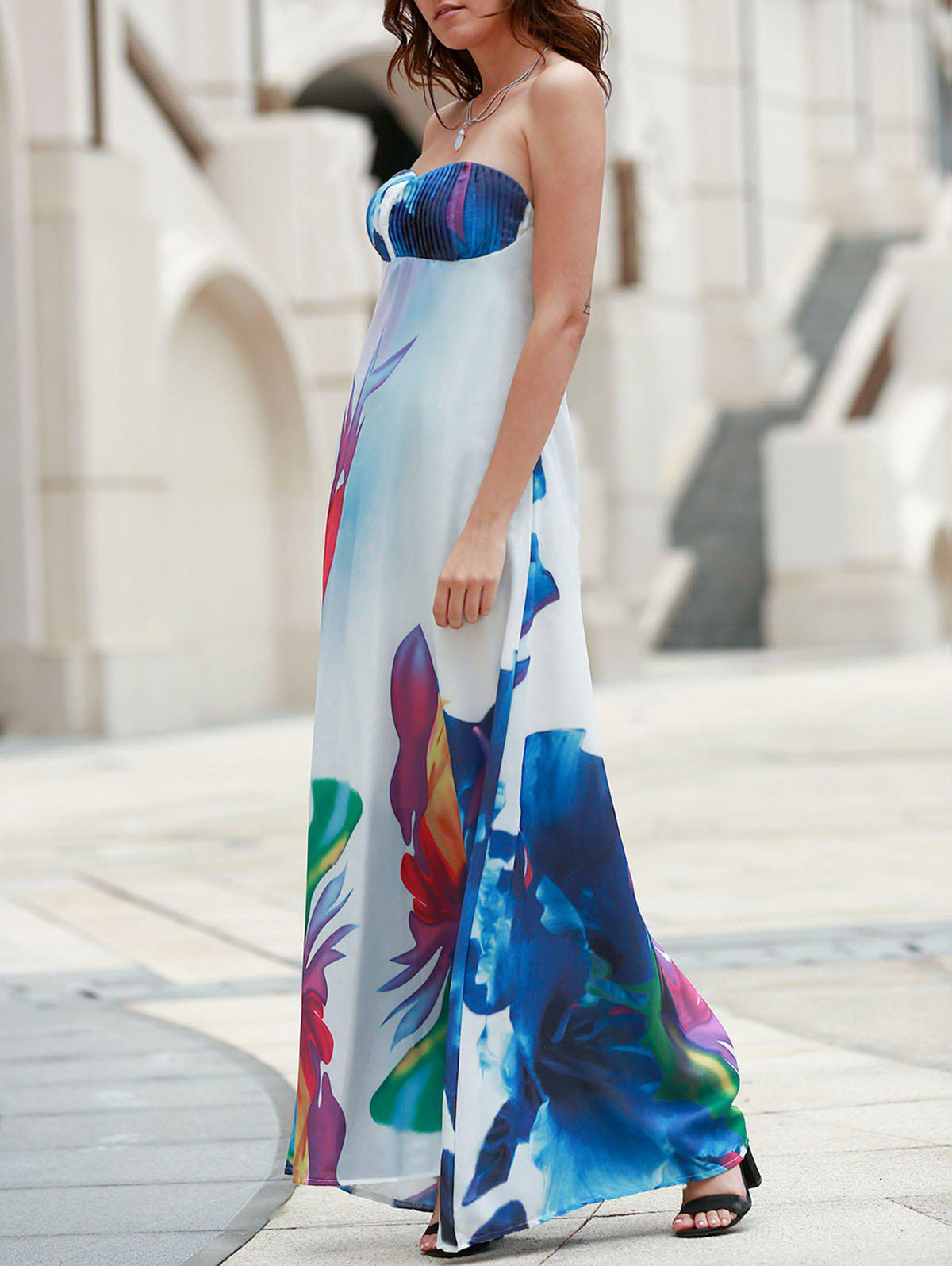 Sexy Elastic Strapless Abstract Printed Maxi Dress For Women - COLORMIX S