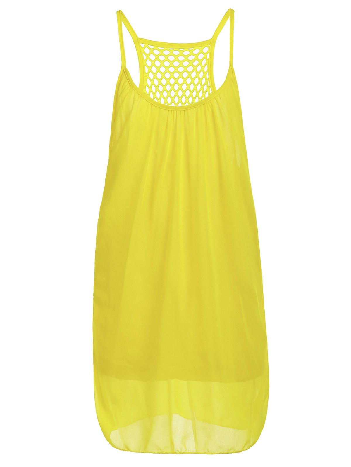 Stylish Women's Strappy Hollow Out Racerback Chiffon Dress - YELLOW M