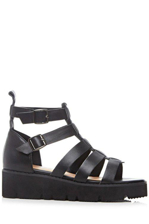 Roman Style Buckle and Platform Design Sandals For Women - BLACK 39