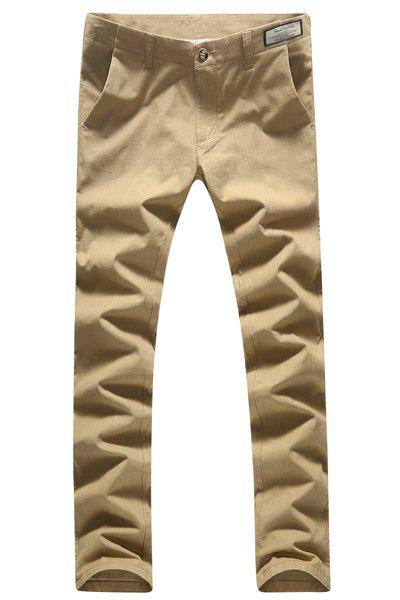 Casual Straight Leg Solid Color Slimming Zipper Fly Men's Plus Size Pants - KHAKI 30