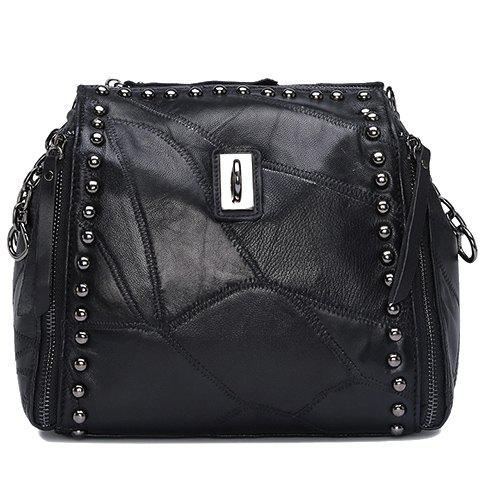Fashion Rivets and PU Leather Design Shoulder Bag For Women - BLACK