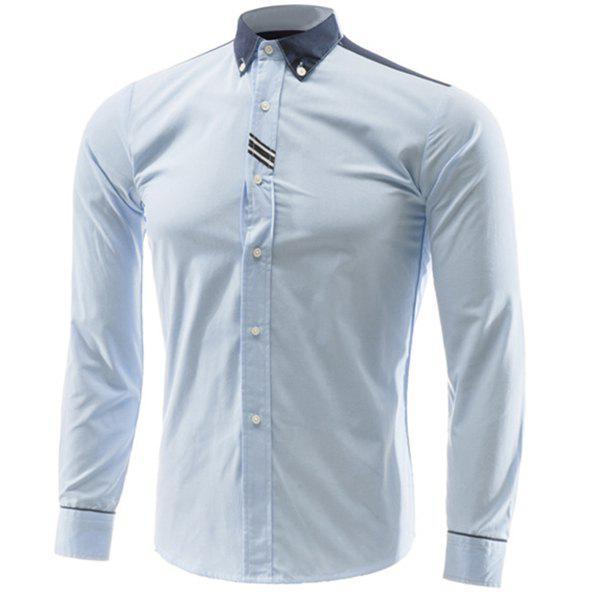 Slim Fit Turn Down Collar Color Block Long Sleeves Shirt For Men - LIGHT BLUE M