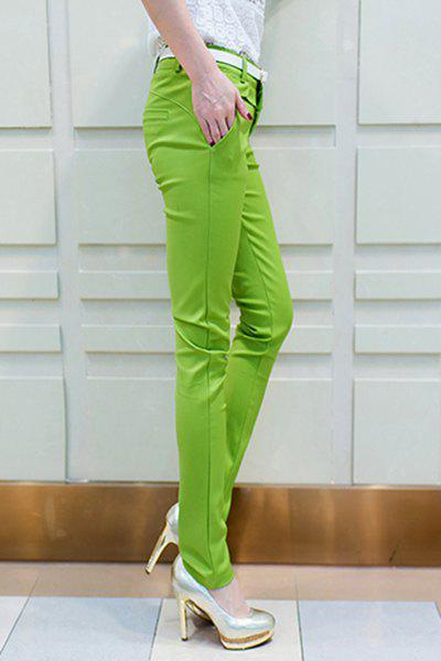 Chic Mid-Waisted Bodycon Pure Color Women's Pencil Pants - GREEN L