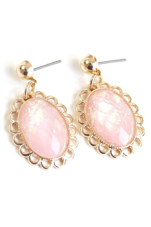 Pair of Oval Faux Gemstone Earrings - PINK