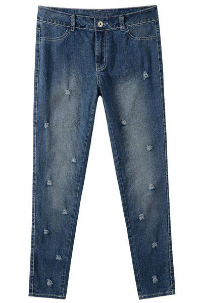 Casual Women's Destroy Wash Plus Size Skinny Jeans - BLUE 36