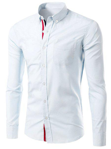 Slim Fit Turn Down Collar Color Block Design Long Sleeves Shirt For Men - WHITE M
