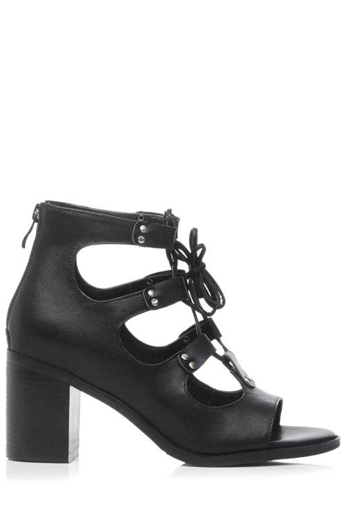 Roman Style Chunky Heel and Lace-Up Design Sandals For Women - BLACK 36