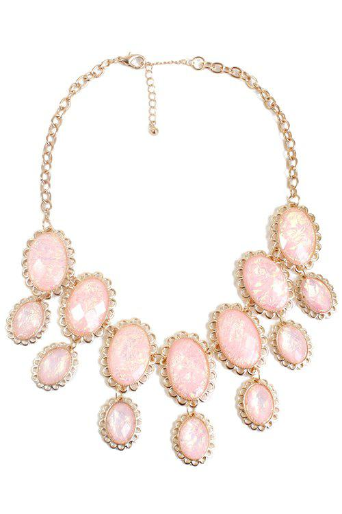 Faux Gemstone Oval Necklace - PINK