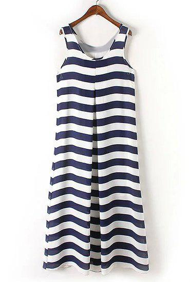 Brief Women's U-Neck Stripe Sleeveless Maxi Dress - BLUE/WHITE M