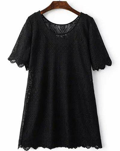 Ladylike Round Collar 1/2 Sleeve Lace Solid Color Women's Mini Dress - BLACK L