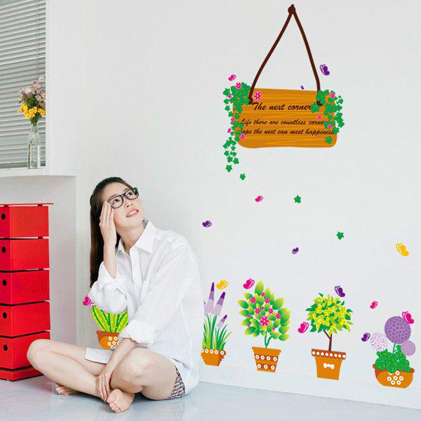 High Quality Fresh Green Potted Shape Removeable Wall Stickers