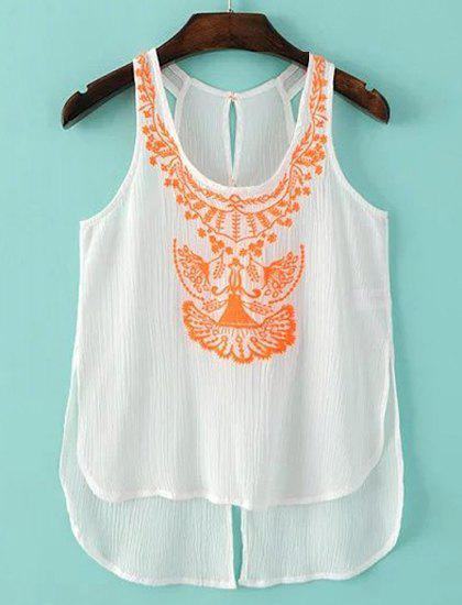 Sweet Women's U-Neck Embroidery Hollow Out Tank Top - ORANGE S